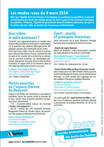 Journéedelafemme Programme Nantes 2014